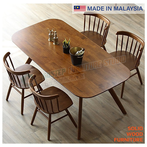 全新馬來西亞製造實木餐檯/連餐椅 Brand New solid wood dinning table/w chairs, made in Malaysia