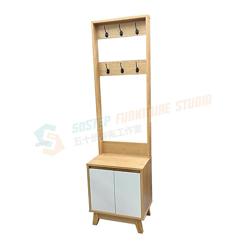 免費送貨森系風格實木掛衣架連儲物腳櫈 Free shipping solid wood footstool with coat stand/cabinet