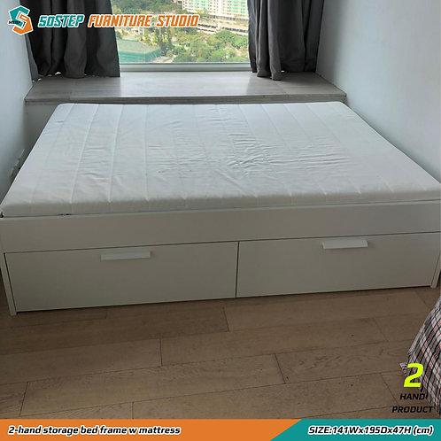 八成新四呎半雙人床架連床褥 2-hand storage bed frame w mattress