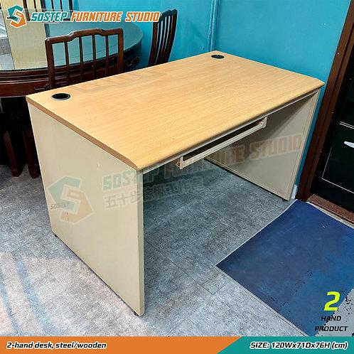 二手鐵木辦公檯 2-hand desk, steel/wooden