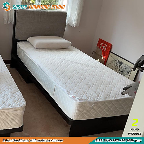 二手單人床架+床褥 2-hand bed frame with mattress+drawer
