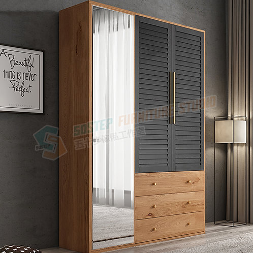 免費送貨摩登精品三門衣櫃連鏡組合 Free shipping modern wardrobe with drawers, mirror