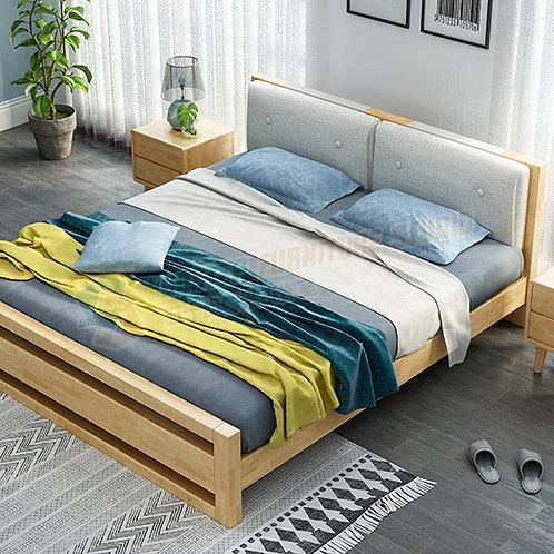 免費送貨森系風格六呎實木床架 Free shipping solid wood bed frame, 6ft