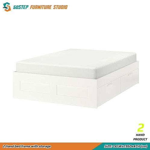 八成新四呎半雙人床架 2-hand bed frame with storage