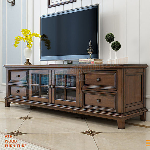 免費送貨進口白蠟木美式實木電視櫃 Free shipping solid wood TV cabinet, ash wood