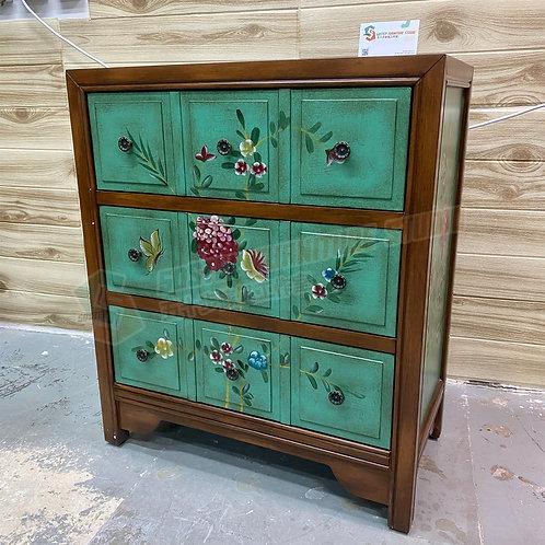 #陳列品 復古手工彩繪三桶儲物櫃