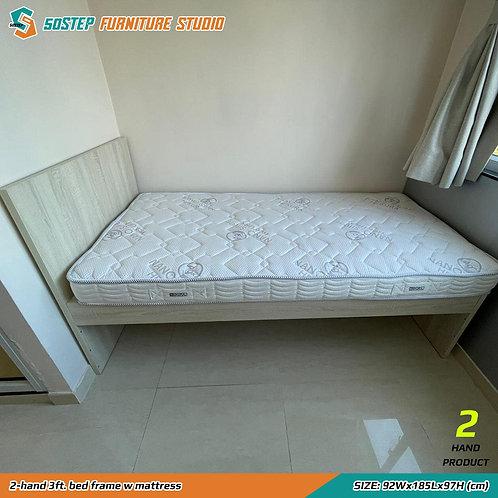 九成新三呎床架連喜居樂床褥 2-hand 3ft. bed frame w mattress