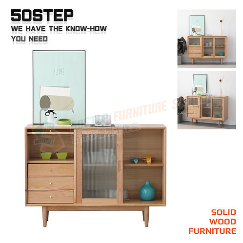 全新進口FAS級橡木實木玻璃趟門餐邊櫃 Brand New solid wood sideboard, glass door