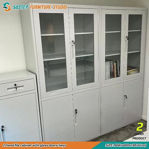 九成新玻璃門鋼製文件櫃 2-hand file cabinet with glass doors/keys
