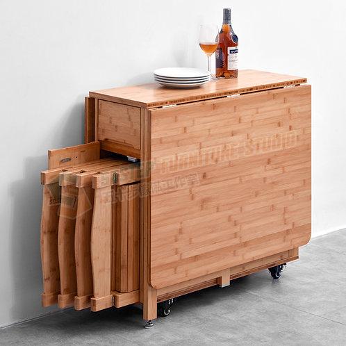 全新活動蝴蝶檯/連摺椅Brand New gateleg table/w folding chairs, bamboo