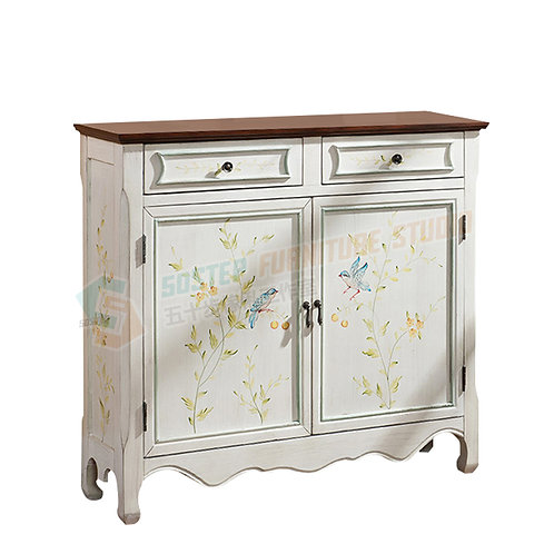 免費送貨地中海手工彩繪儲物櫃餐邊櫃 Free shipping white hand paint cabinet 2-door console