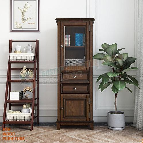 全新進口白蠟木美式實木玻璃飾櫃 Brand New solid wood display cabinet, ash wood