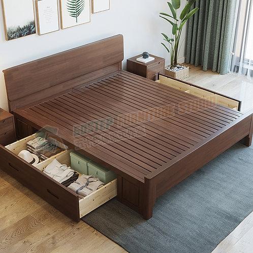 全新極簡主義實木櫃桶儲物床架 Brand New bed frame, solid wood