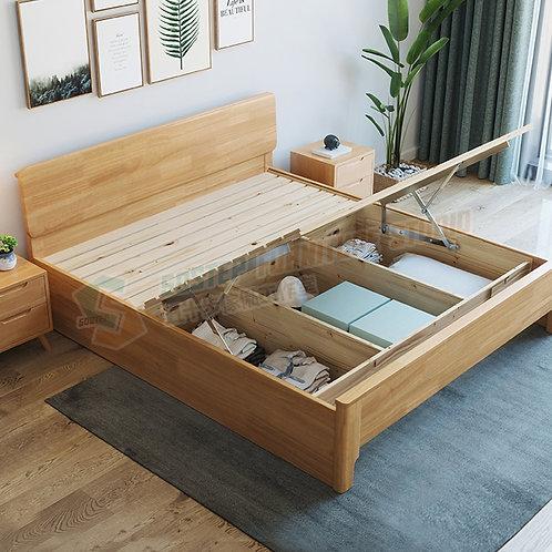 全新極簡主義實木油壓床架 Brand New ottoman bed frame, solid wood