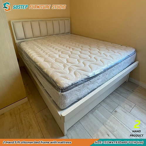 二手五呎油壓床架連床褥 2-Hand 5 ft ottoman bed frame with mattress