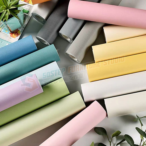 全新防水加厚純色即貼牆紙 Brand New PVC color wallpaper