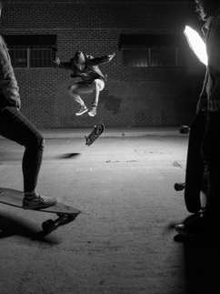 black and white, skateboard, friends, photography, portrait, fine art, building, pavement, longboard jacket, hat, jeans