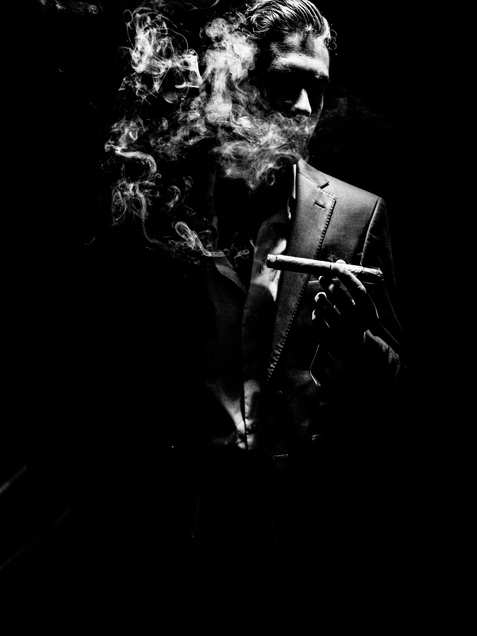 black and white, portrait, cigar, smoke, photography