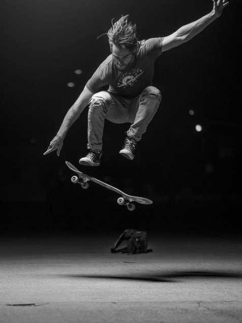 skateboard, black and white, flash photography, sex, portrait
