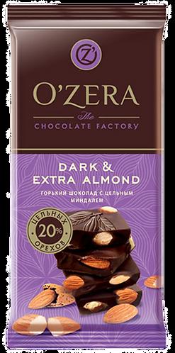 """Шоколад O Zera горький Dark & Extra Almond O""""Zera 90г с цельн. миндалем,"""