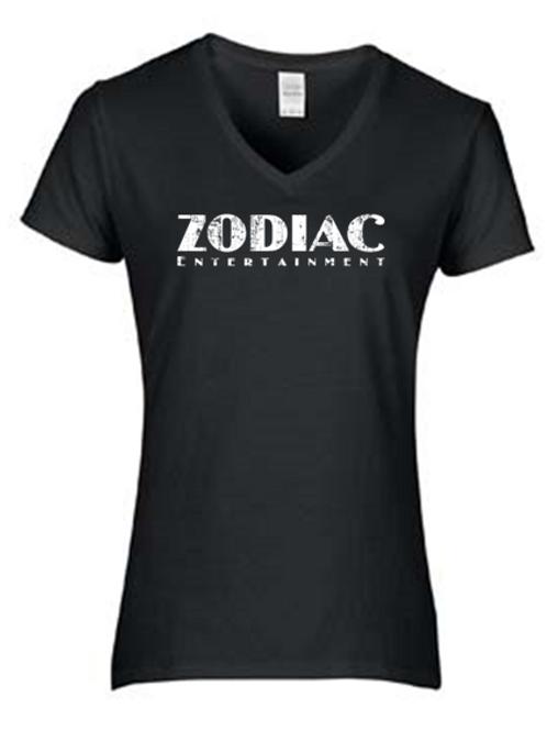 EG046z - Ladies V-Neck Tee w/ white logo