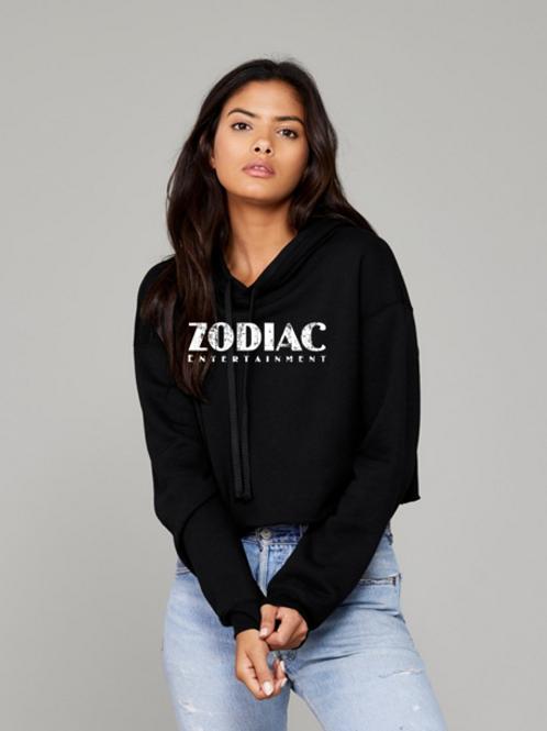 EB7502z Black Cropped Fleece Hoodie w/ Zodiac Logo