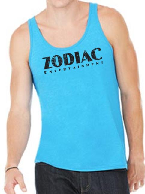 EB250z  Men's Jersey Tank - Neon Blue w/ Zodiac Logo