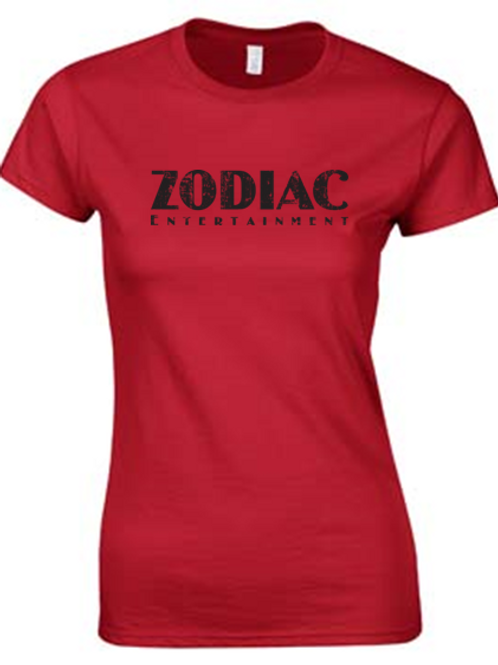 EG007z - Ladies Scoop Neck Tee w/ black logo