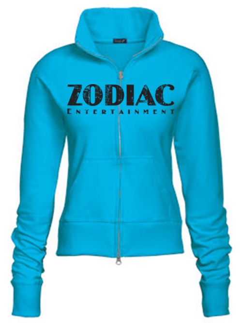 EZ088z Ladies Track Jacket-Turquoise w/ Zodiac Logo