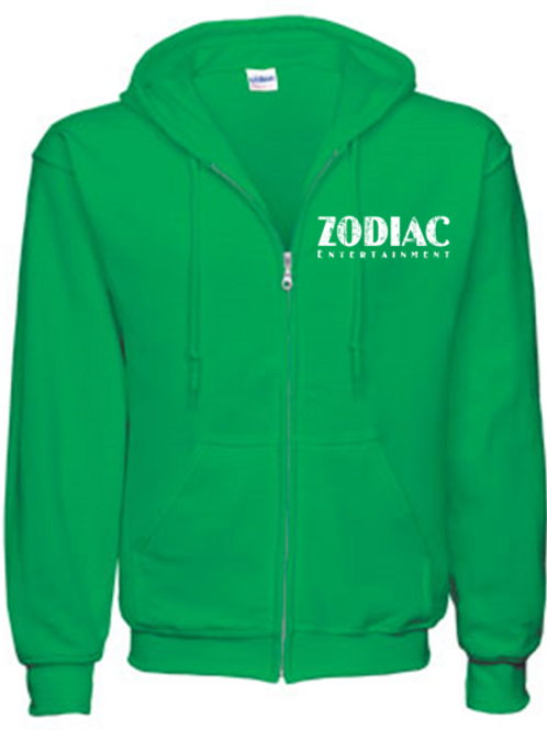 EG343z Men's Full Zip Hooded Sweatshirt-Irish Green w/ Zodiac Logo