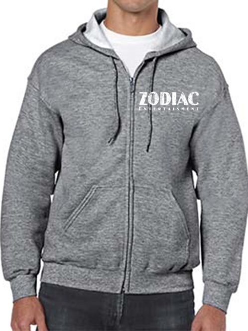 EG343z Men's Full Zip Hooded Sweatshirt-Graphite Heather w/ Zodiac Logo