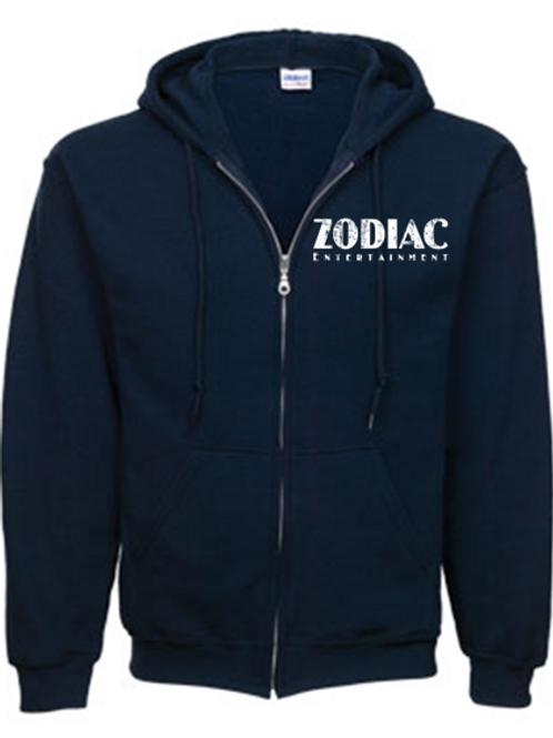 EG343z Men's Full Zip Hooded Sweatshirt-Navy w/ Zodiac Logo