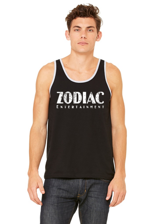 EB3480z Men's Jersey Tank - Black/Athletic Heather w/ Zodiac Logo