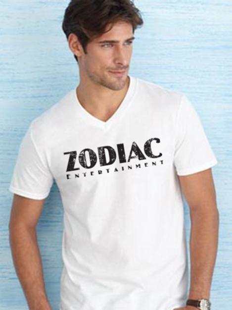 EG206z Men's V-Neck SS Tees w/ black Zodiac logo