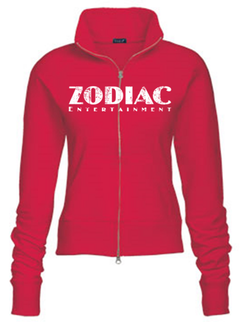 EZ088z Ladies Track Jacket-Red w/ Zodiac Logo
