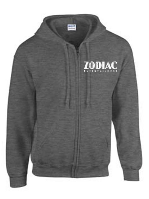 EG343z Men's Full Zip Hooded Sweatshirt-Dark Heather w Zodiac Logo