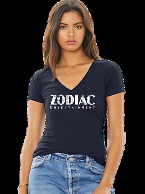 EB8435z Ladies Deep V-Neck Tees w/ White Zodiac Logo