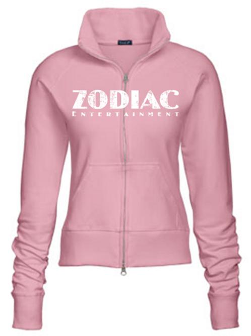 EZ088z Ladies Track Jacket-Lt Pink w/ Zodiac Logo