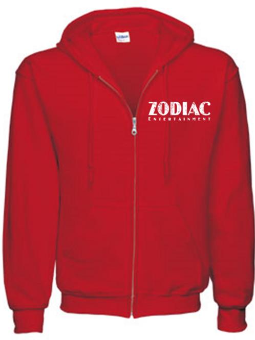 EG343z Men's Full Zip Hooded Sweatshirt-Red w/ Zodiac Logo