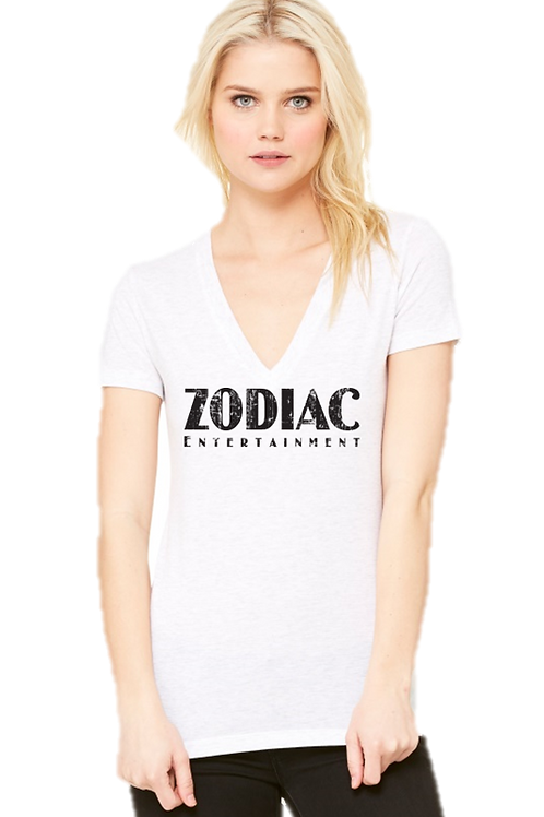 EB8435z Ladies Deep V-Neck Tees w/ Black Zodiac Logo