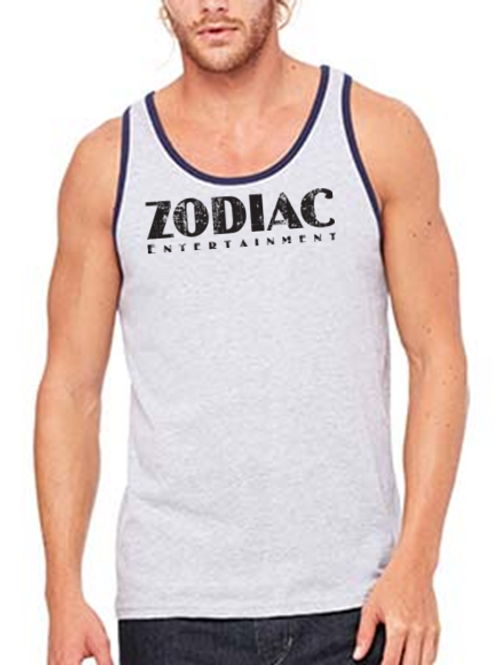 EB250z  Men's Jersey Tank - Athletic Heather/Navy w/ Zodiac Logo