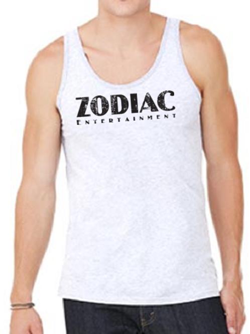 EB250z  Men's Jersey Tank - White Fleck Triblend w/ Zodiac Logo