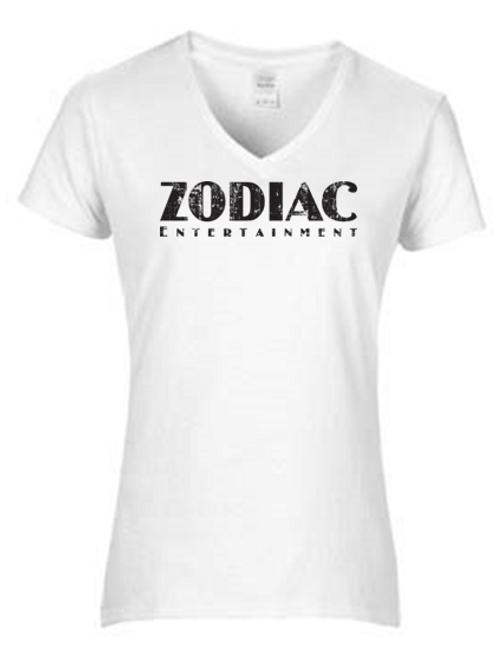 EG046z - Ladies V-Neck Tee w/ black logo