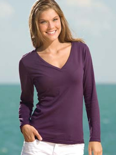 EZ032 Enza Ladies Essential Long Sleeve V-Neck Tee