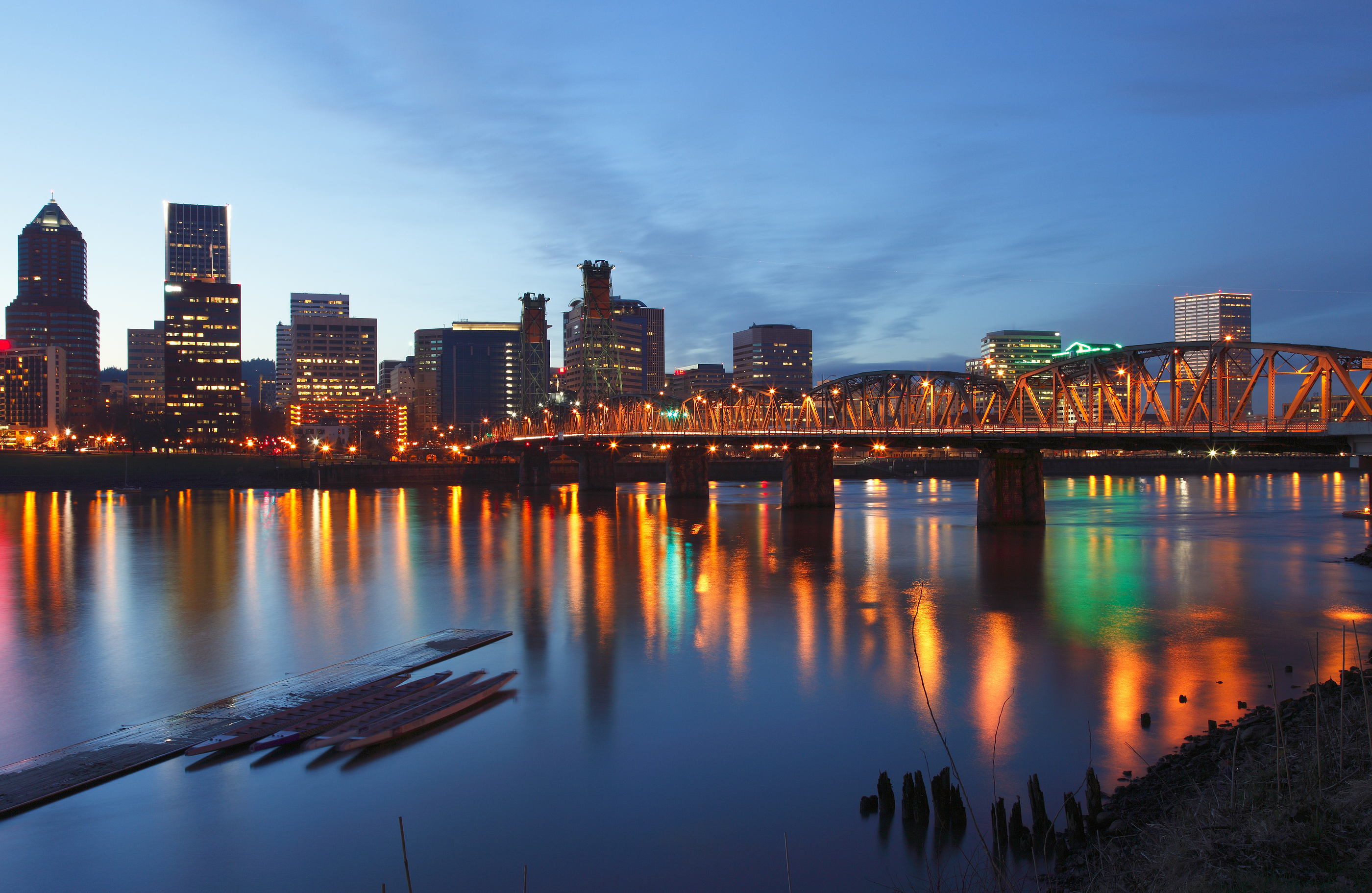 Portland Oregon at dusk.