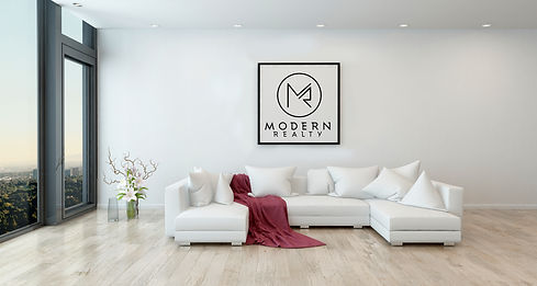 Staged home in Portland, OR with Modern Realty logo in the living room