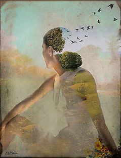 Woman with birds invitation Jade Sherer