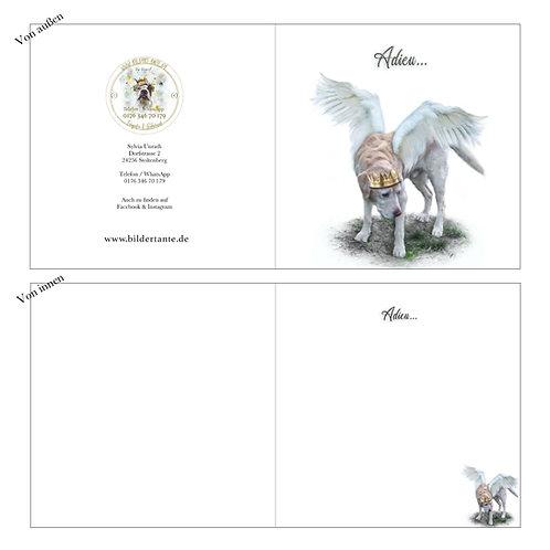 Trauerkarte / Klapp-Karte Engel 'Adieu'