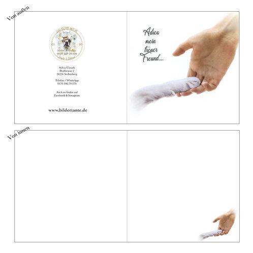 Trauerkarte Pfote (Klapp-Karte) 'Adieu mein treuer Freund'