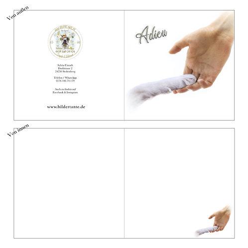 Trauerkarte Pfote (Klapp-Karte) 'Adieu'